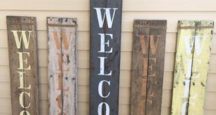 Rustic verticle porch WELCOME sign, pallet wood, handpainted, jute wrap, welcome wood sign