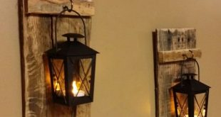 """Rustic wood candle holder with lantern 12"""" x 5"""" , wood sconce, Mini candle holder, hanging lantern price is for 1 Each or 1 Set"""