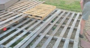 laying out the pallets for the deck, The Second Wind of Texas featured on Remode...