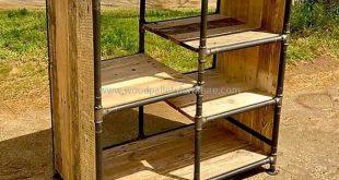 Multipurpose Reclaimed Pallets Shelving Cabinet