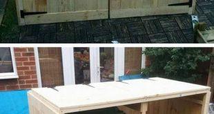 Pallet outdoor dustbin table