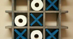 Badezimmer Tic Tac Toe - Toilettenpapierhalter - Toilettenpapier Tic Tac Toe - Palette Wandkunst - schwimmende Regal - Dekor - Bauernhaus - Cottage