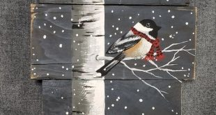 Christmas painting on pallet wood White Birch and bird with