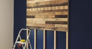 Headboard made from wooden pallets #WoodWorking #WoodWorking