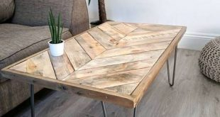 KALASABA Chevron Pattern Top Reclaimed Timber Coffee Table - #Chevron #coffee #c...