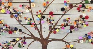 Knopf-Baum-Wand-Kunst auf umfunktioniertem Palettenholz - jardin - #auf #jardin...