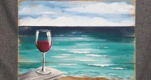 Pallet wood beach Red Wine painting, painting on pallet wood, ocean wall art, Beach Chair, Handmade Seascape horizon, ocean, Distressed