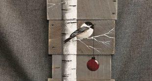 Weihnachten Zeichen, White Birch, rote Birne, grau-Holz-Paletten-Kunst, Hand pai...